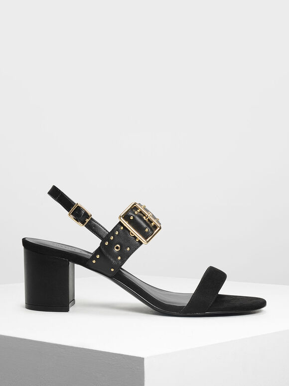 Studded Slingbacks, Black, hi-res
