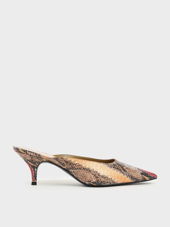 Multicoloured Snake Print Pointed Toe Kitten Heel Mules, Multi, hi-res