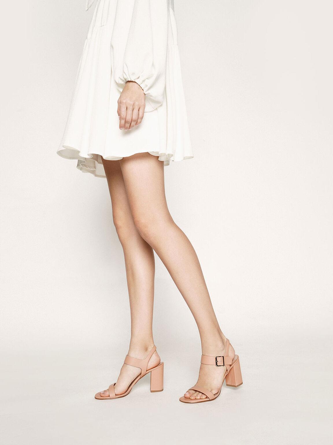 Block Heel Sandals, Nude, hi-res