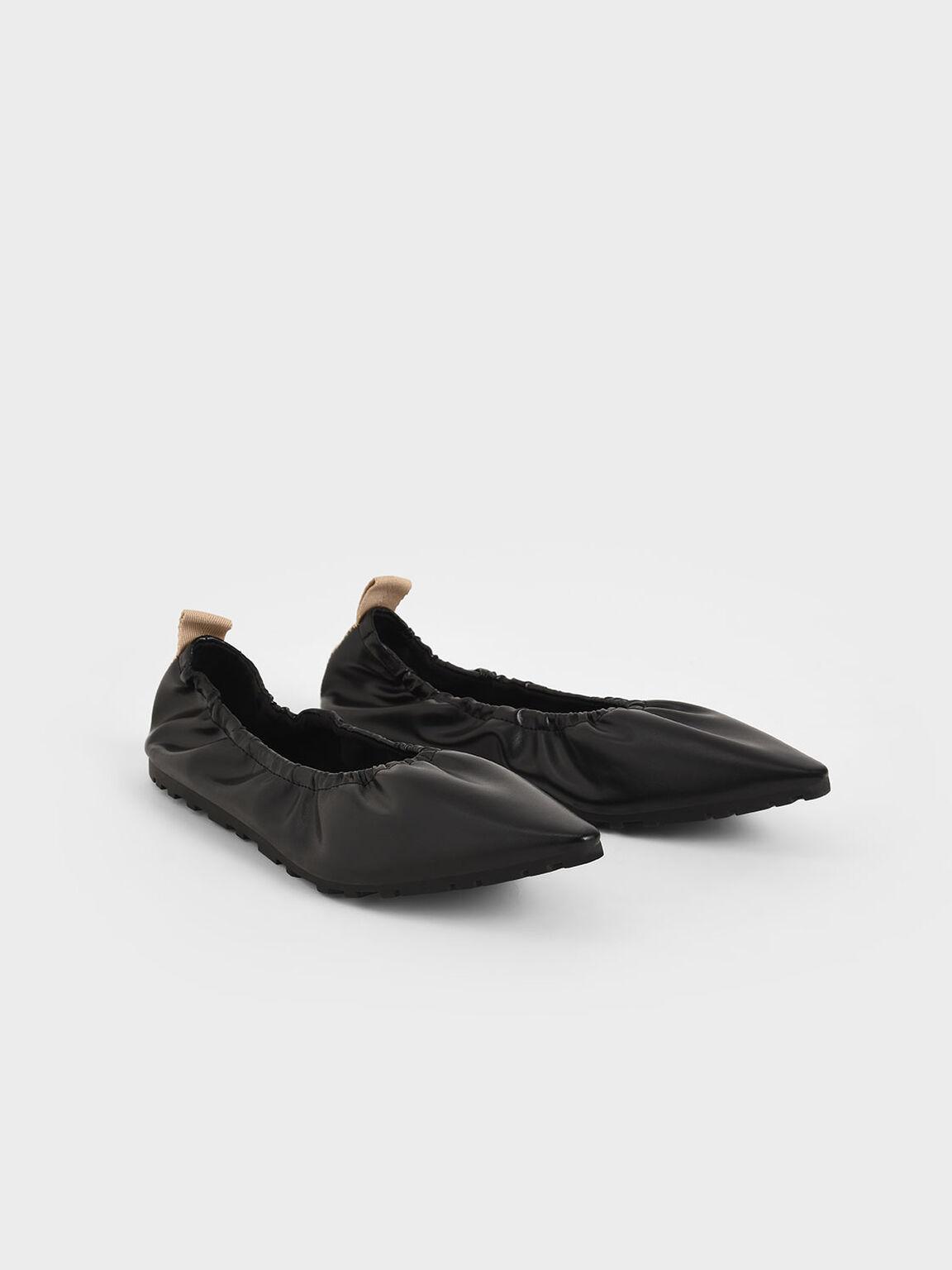 Ruched Ballerina Flats, Black, hi-res