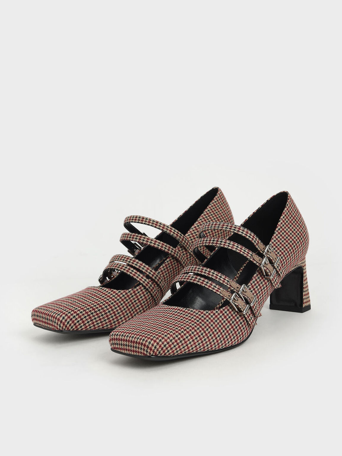 Houndstooth Print Buckled Blade Heel Mary Janes, Multi, hi-res