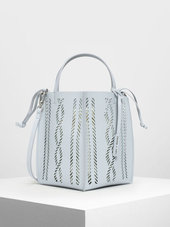 Laser-Cut Bucket Bag, Light Blue, hi-res