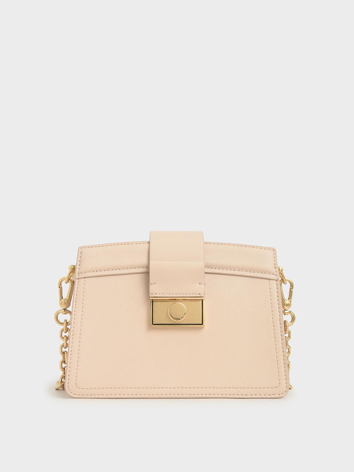 Metallic Push-Lock Shoulder Bag, Nude, hi-res