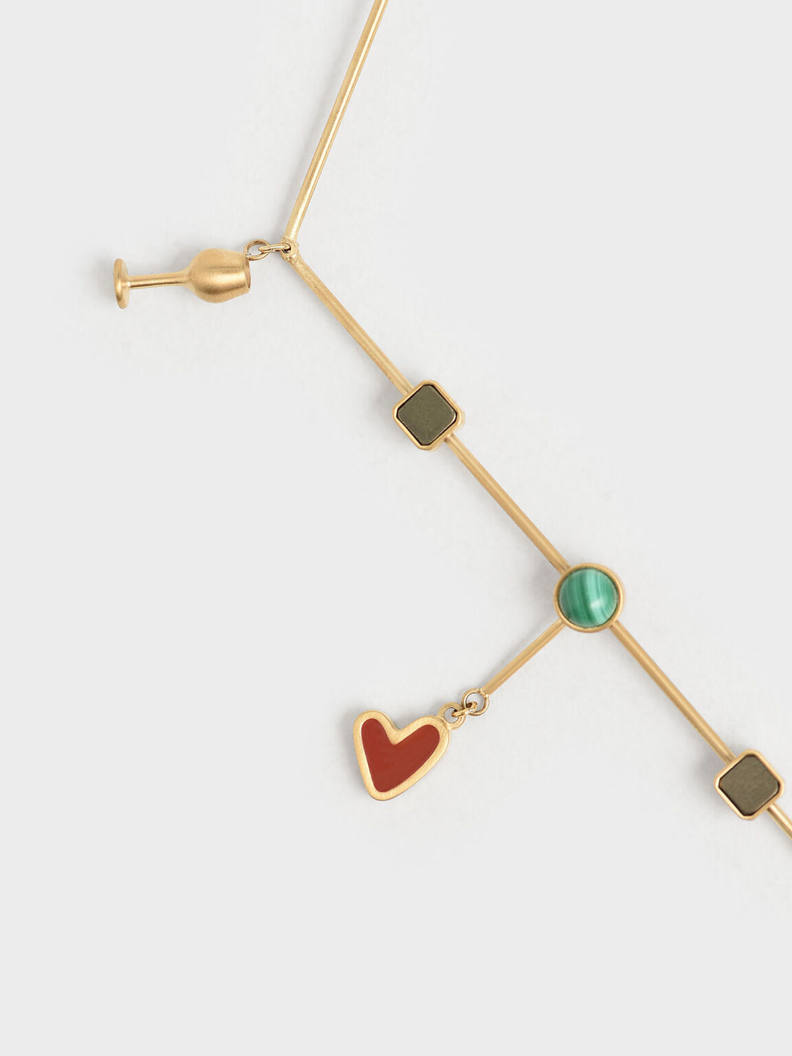 Malachite Stone Horizontal Necklace, Gold, hi-res