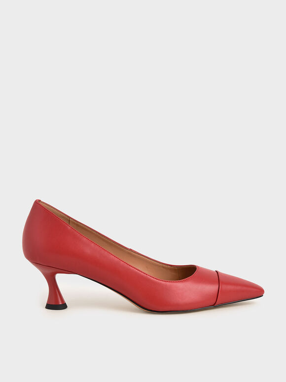 Spool Heel Toe Cap Court Shoes, Red, hi-res