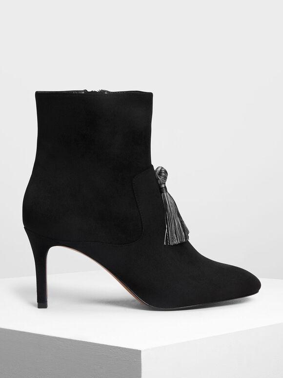 Tassel Detail Calf Boots, Black, hi-res