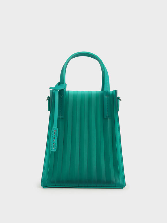 Translucent Pleated Tote Bag, Teal, hi-res