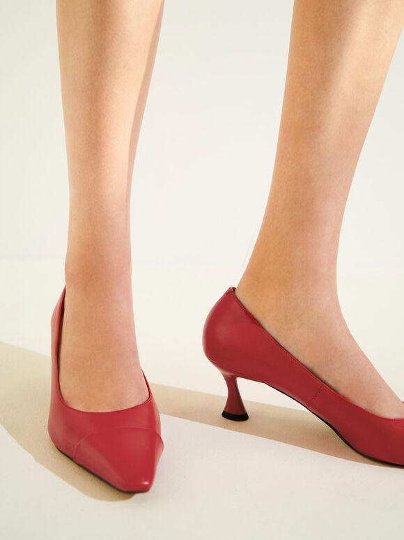 Spool Heel Toe Cap Pumps, Red, hi-res