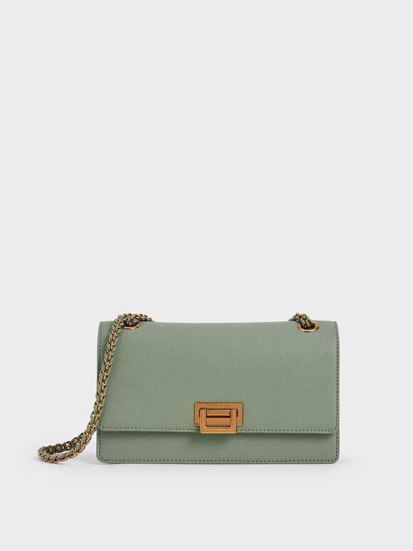 Metallic Push-Lock Shoulder Bag, Sage Green, hi-res