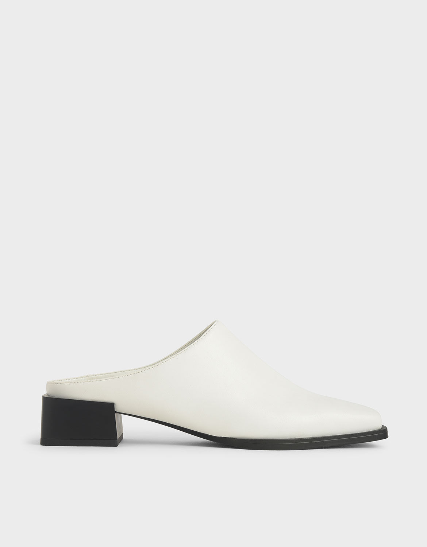 White Square Toe Mules | CHARLES \u0026 KEITH EU