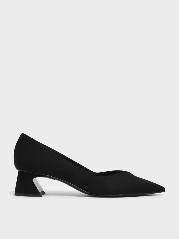 Curved Block Heel Textured Pumps, Black, hi-res