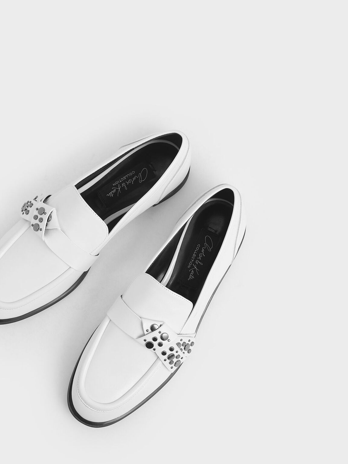 Leather Embellished Strap Loafers, White, hi-res