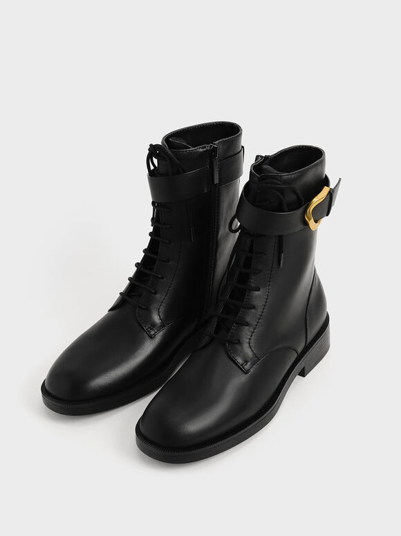 Gabine Buckled Leather Ankle Boots, Black, hi-res