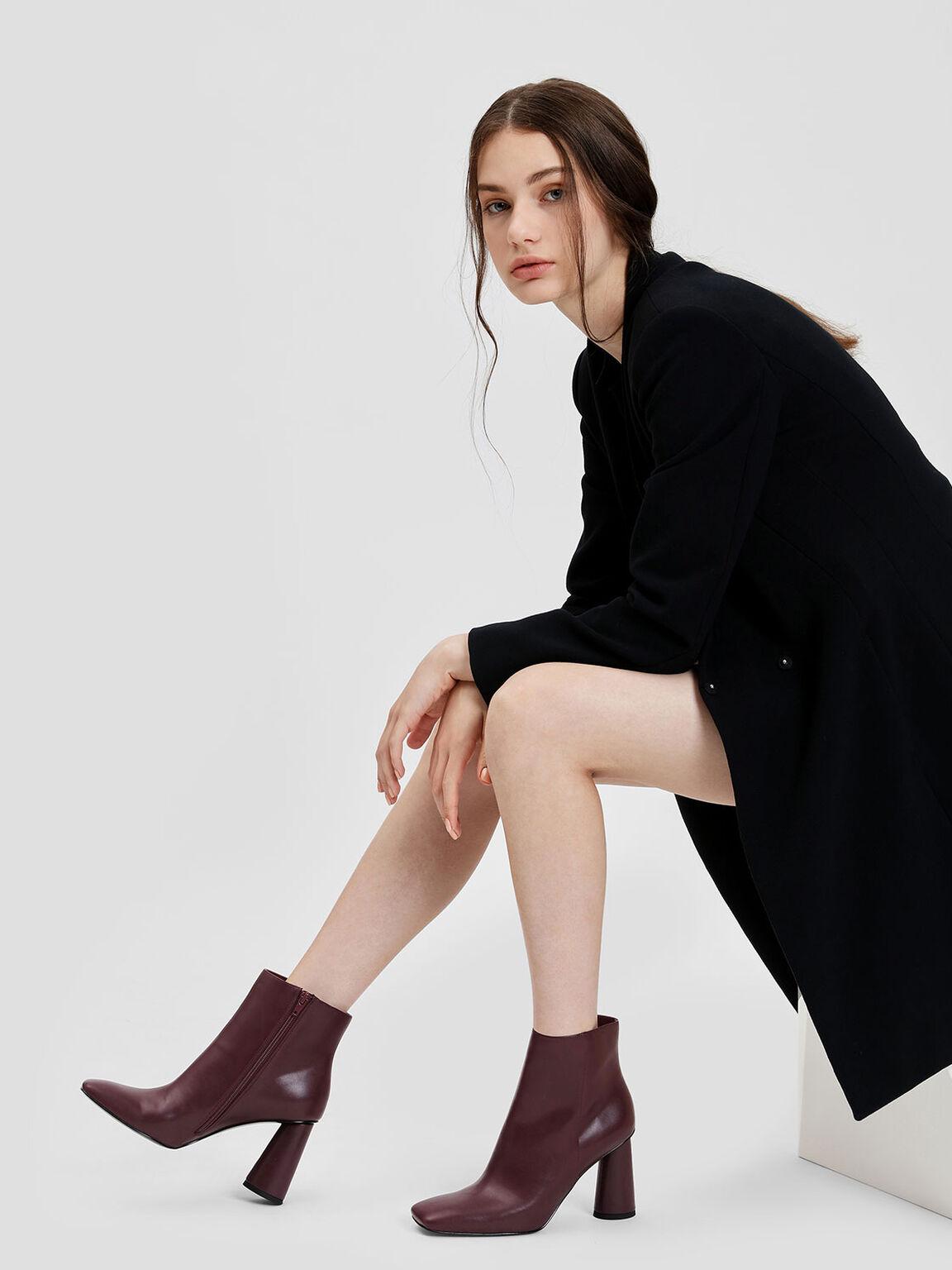 Square Toe Calf Boots, Burgundy, hi-res