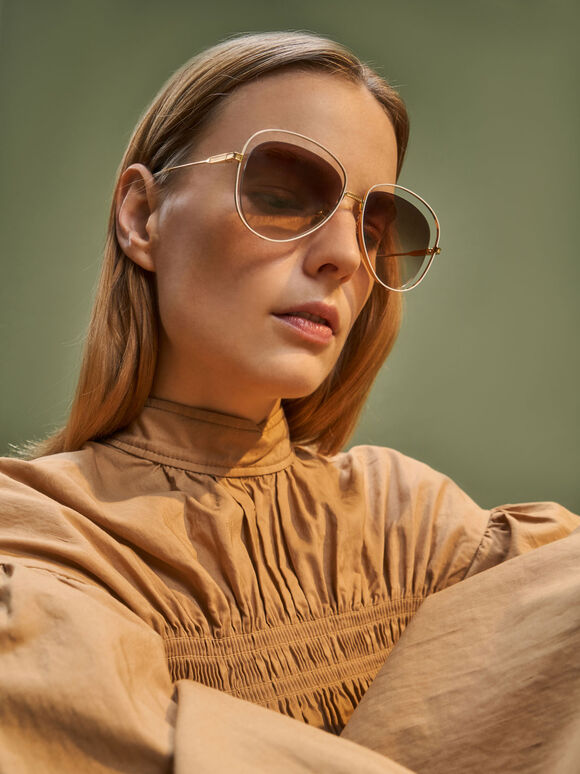 Cut-Out Aviator Sunglasses, Gold, hi-res