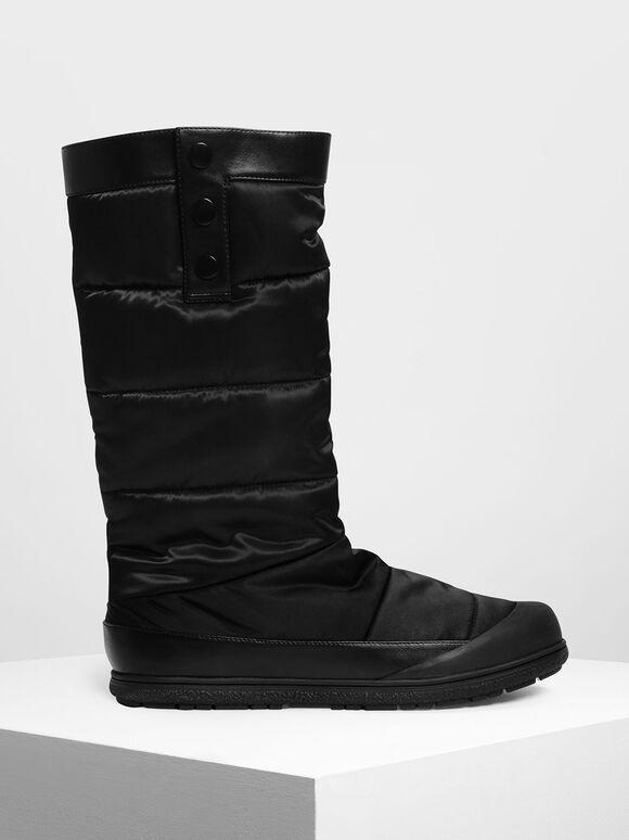 Puffed Calf Boots, Black, hi-res