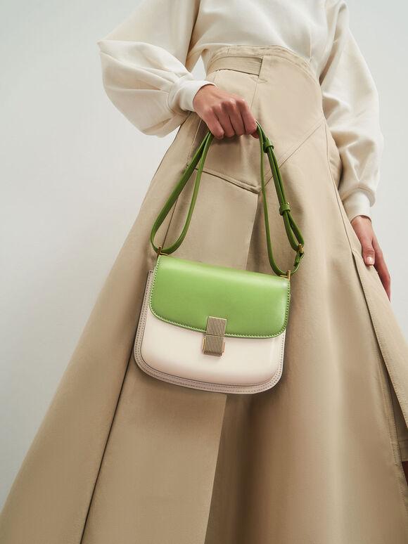 Metallic Push-Lock Shoulder Bag, Green, hi-res