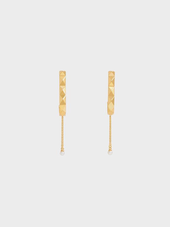 Geometric Pearl Drop Earrings, Gold, hi-res
