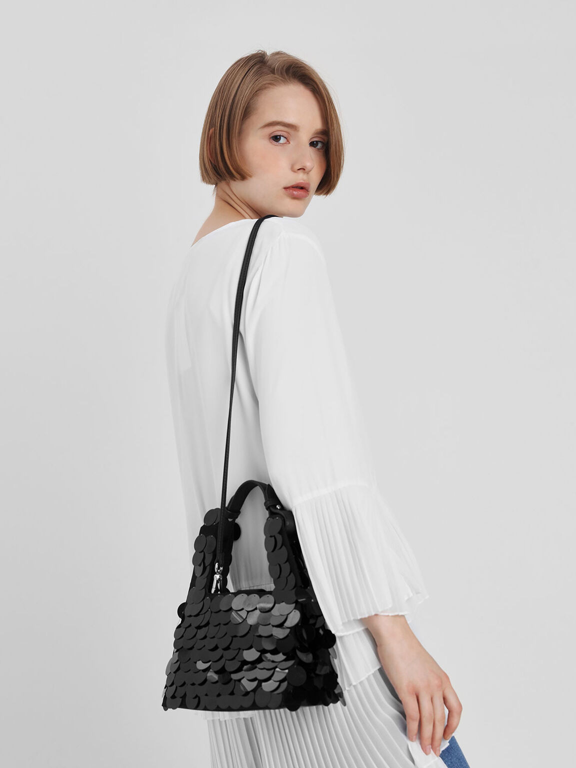Sequin Bag, Black, hi-res