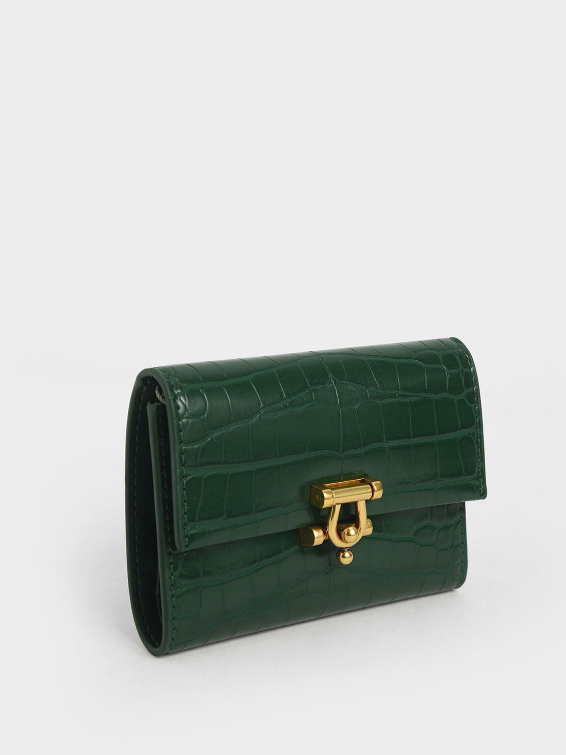 Croc-Effect Metal Accent Mini Short Wallet, Green, hi-res