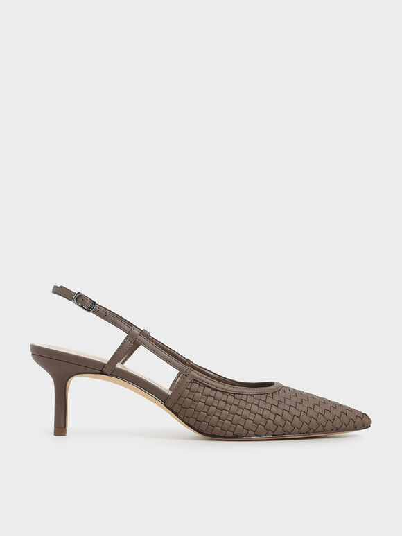 Woven Slingback Pumps, Brown, hi-res