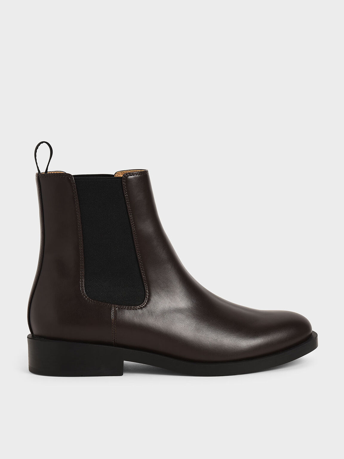 Round Toe Chelsea Boots, Dark Brown, hi-res