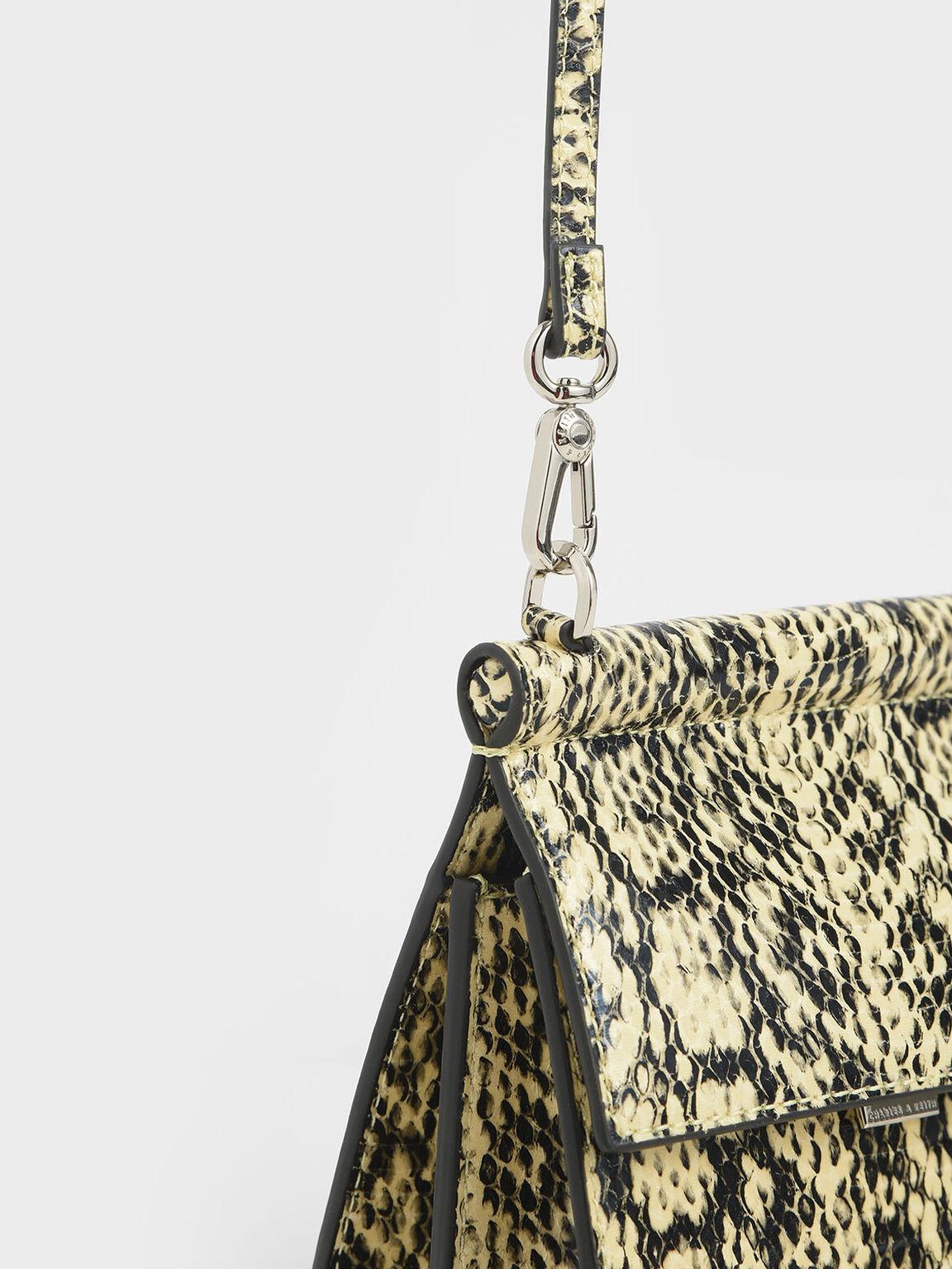 Small Snake Print Acrylic Tortoiseshell Top Handle Bag, Yellow, hi-res