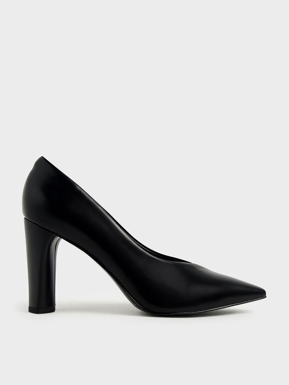 Textured Cylindrical Heel Pumps, Black, hi-res