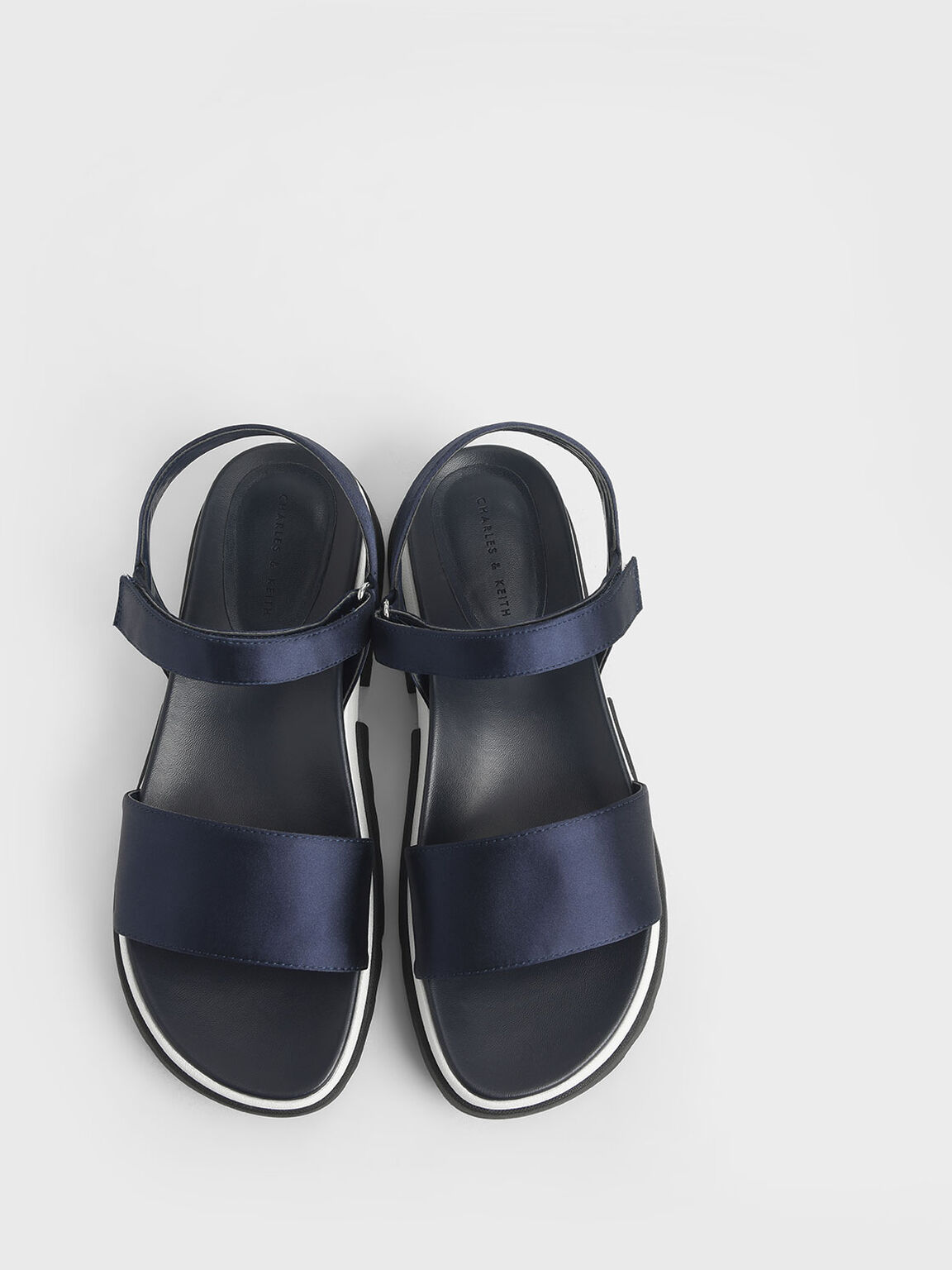 Satin Chunky Sole Sandals, Dark Blue, hi-res