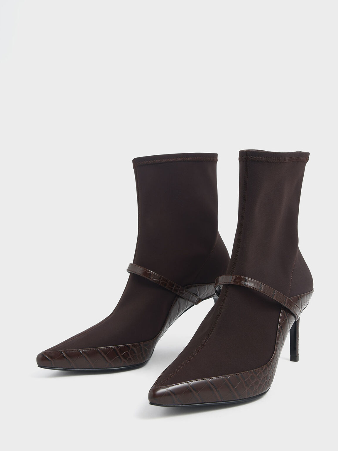 Croc-Effect Pointed Toe Sock Boots, Burgundy, hi-res