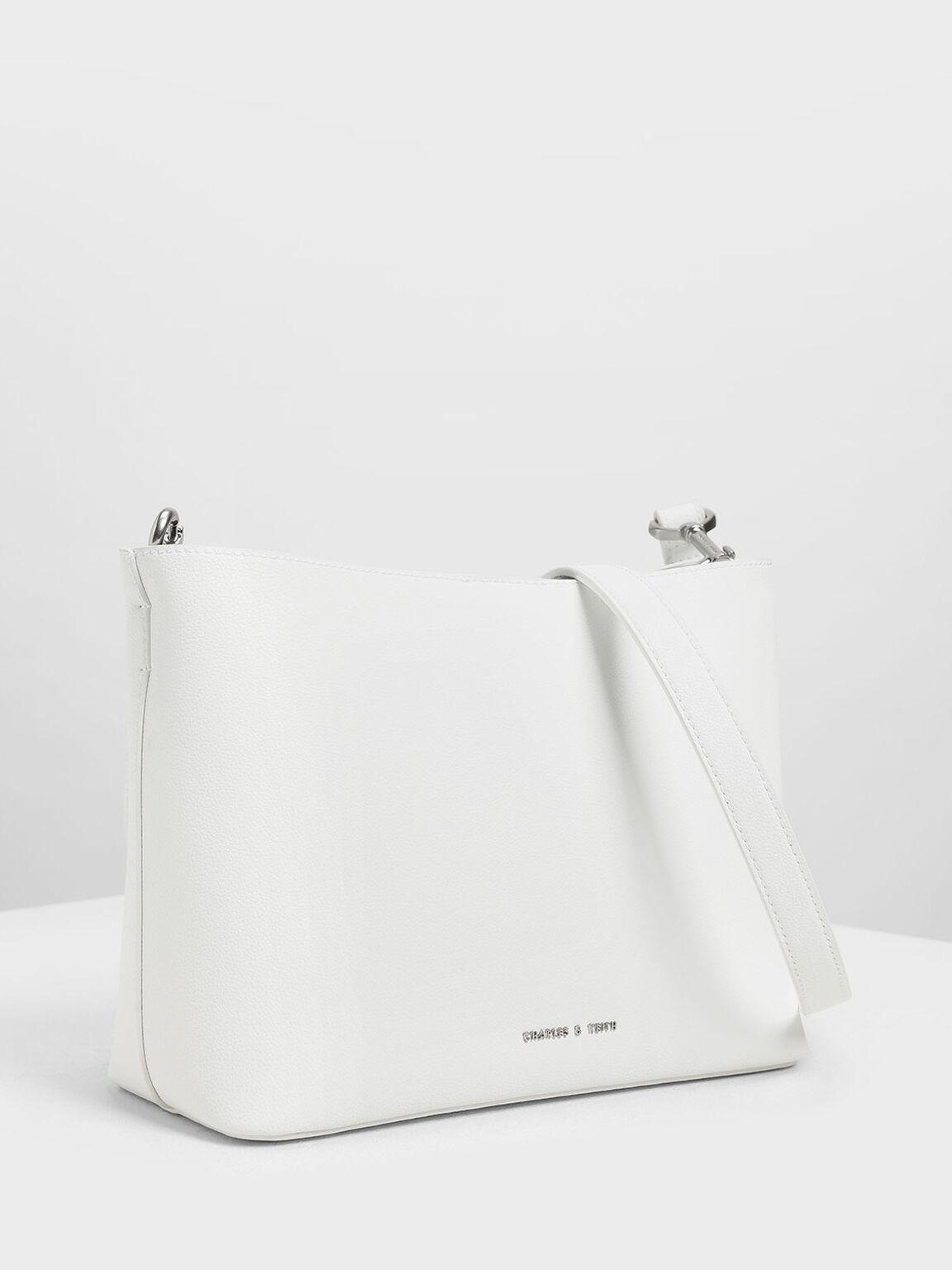 Chunky Chain Handle Bucket Bag, White, hi-res