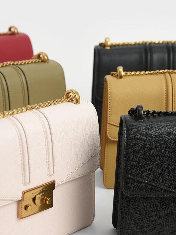 Metallic Push-Lock Shoulder Bag, Khaki, hi-res