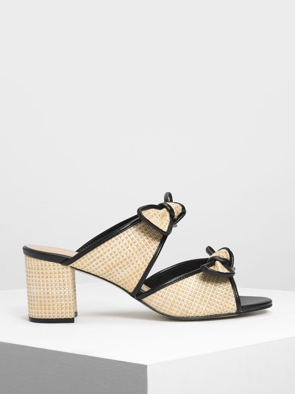 Double Bow Raffia Heeled Slide Sandals, Beige, hi-res