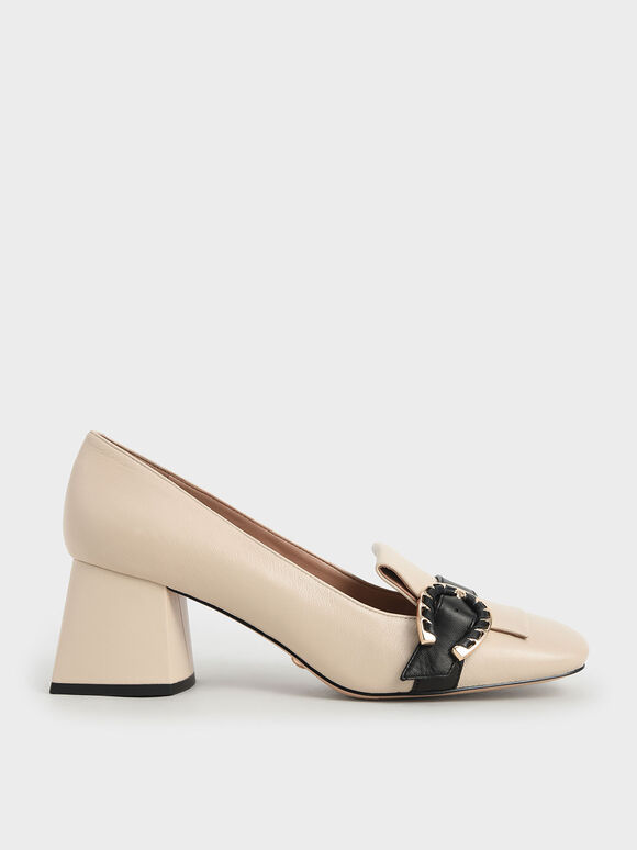 Leather Buckle Loafer Court Shoes, Chalk, hi-res
