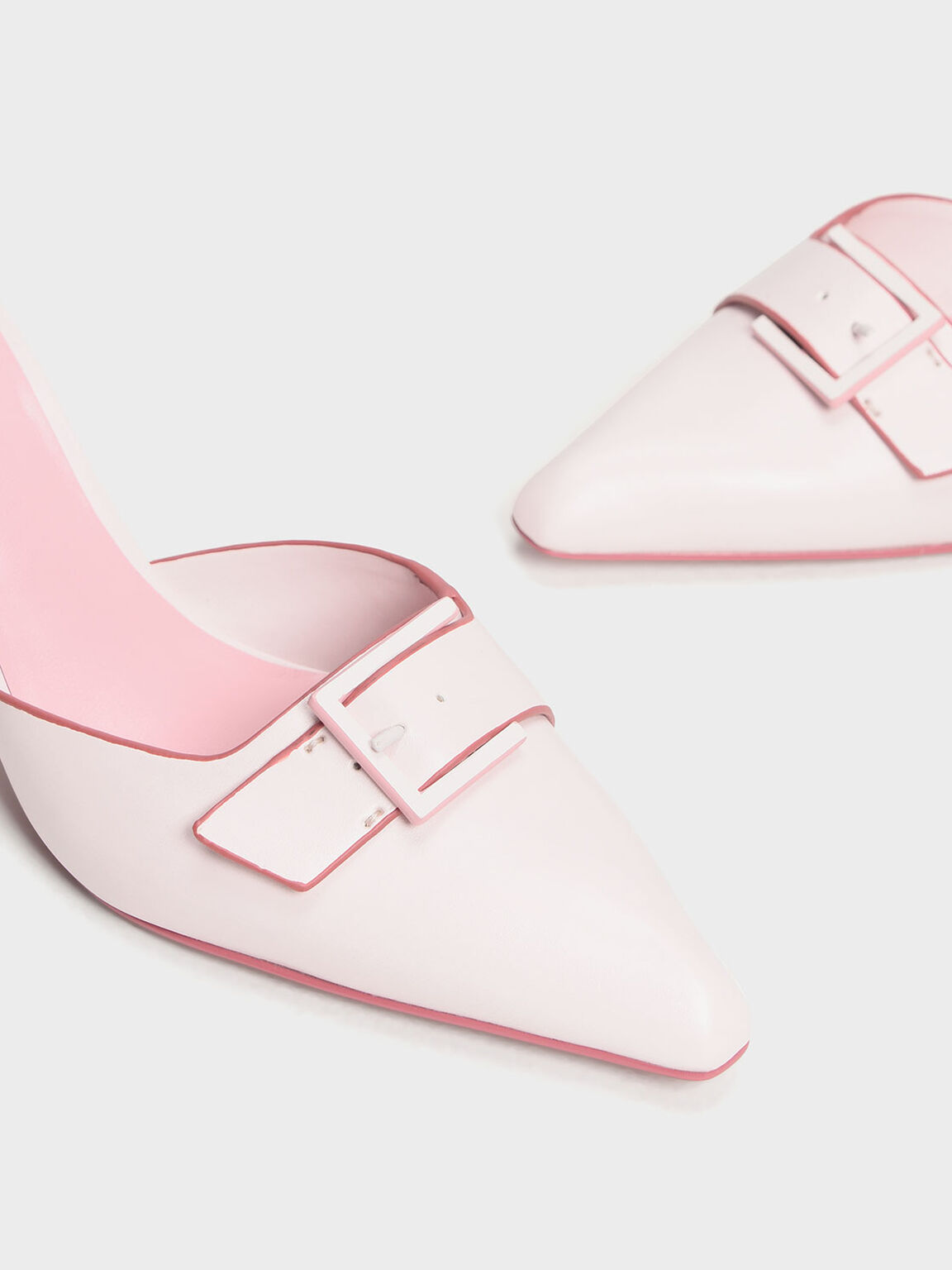 Buckle Kitten Heel Mules, Light Pink, hi-res
