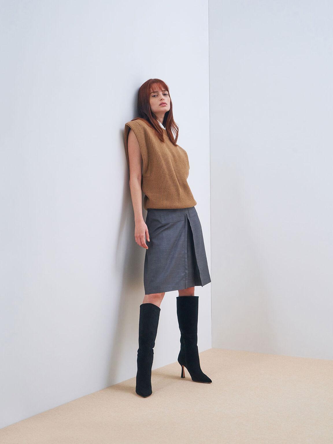 Textured Sculptural Heel Knee High Boots, Black, hi-res
