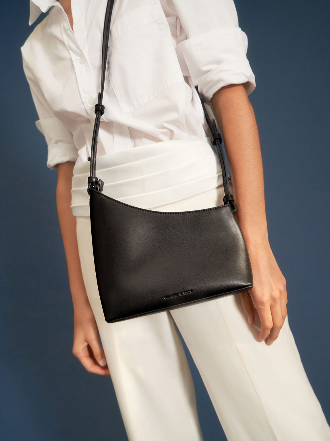 Asymmetrical Shoulder Bag, Black, hi-res