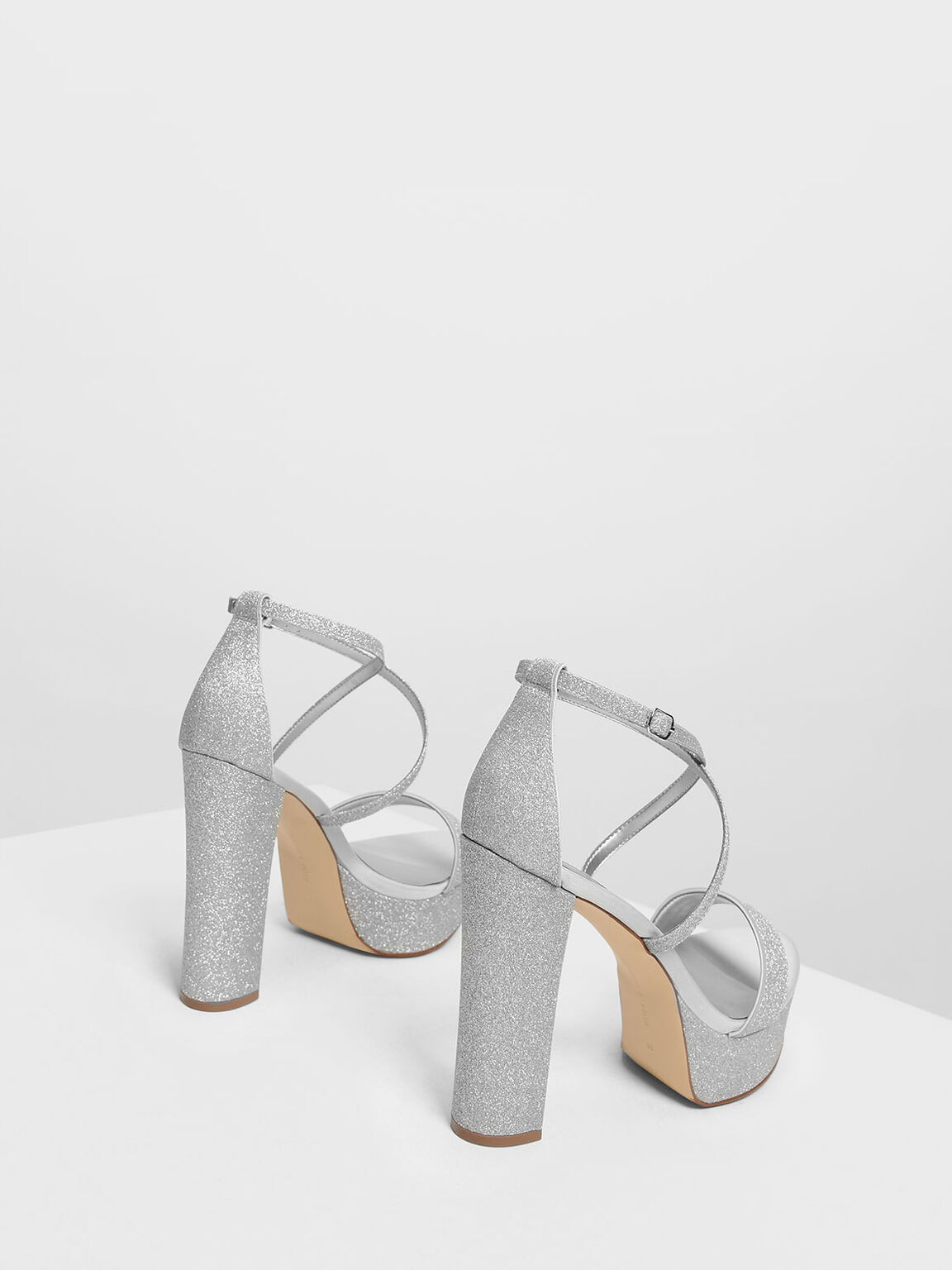 Chunky Glitter Platforms, Silver, hi-res