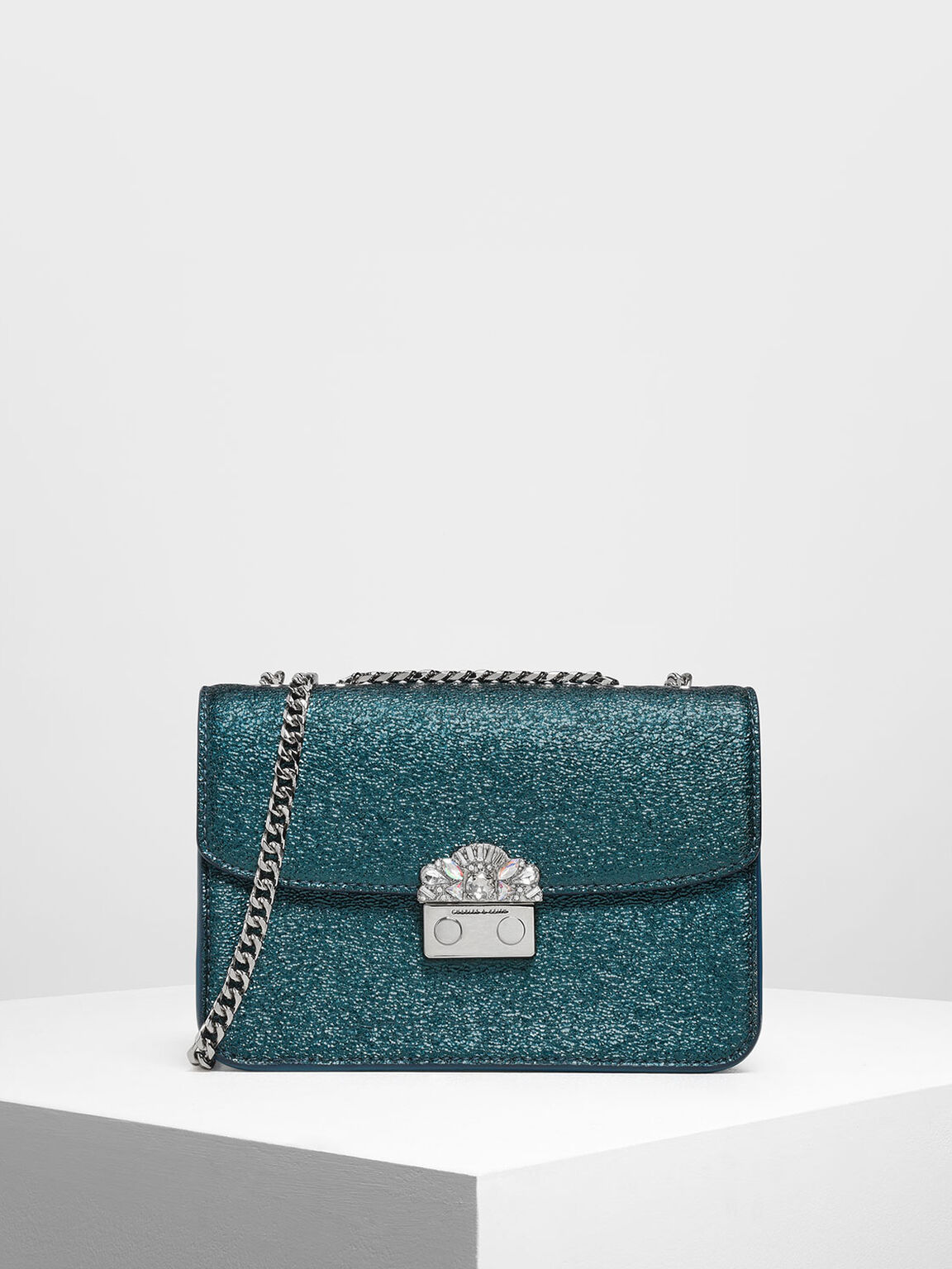 Embellished Push Lock Metallic Clutch, Green, hi-res