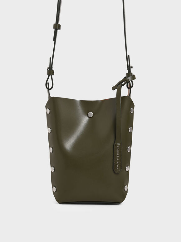 Mini Reversible Studded Crossbody Bag, Olive, hi-res