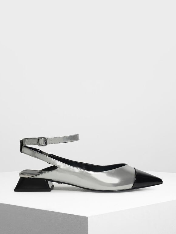 Metallic Leather Block Kitten Heel Pumps, Pewter, hi-res