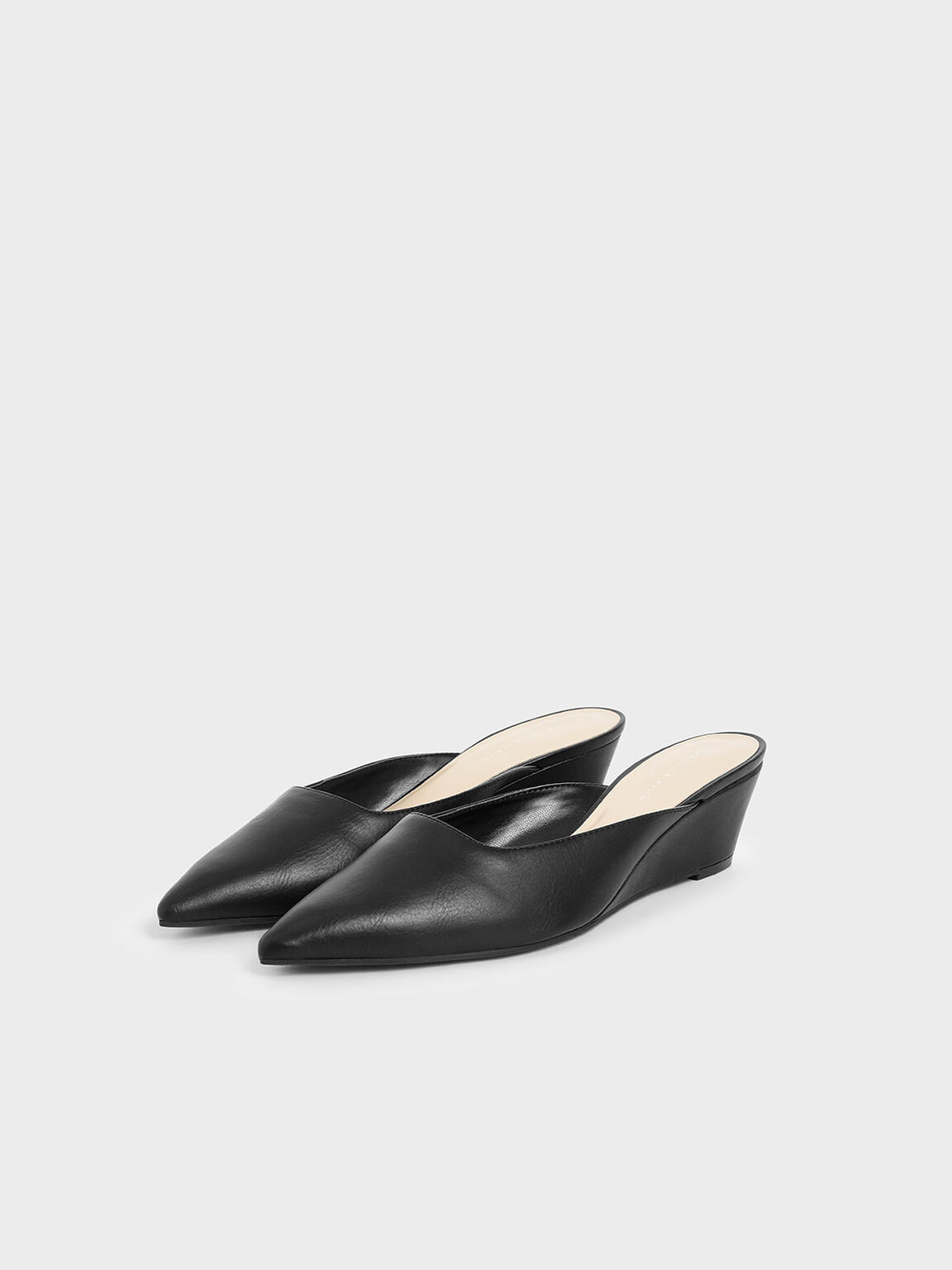 Patent Wedge Heel Mules, Black, hi-res