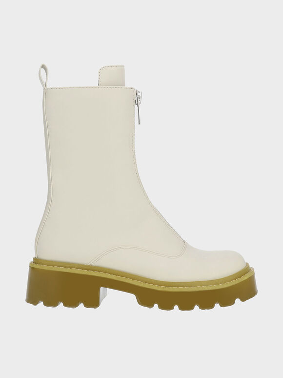 Billie Front-Zip Ankle Boots, Chalk, hi-res