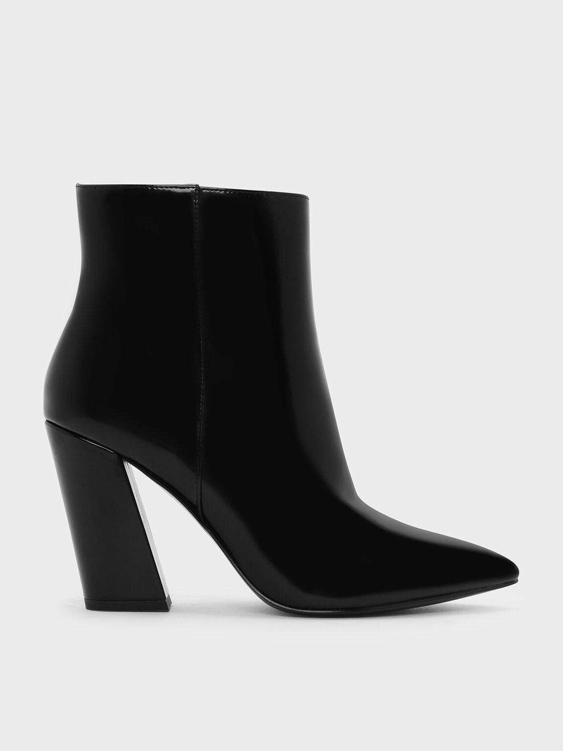 Slanted Block Heel Boots, Black, hi-res