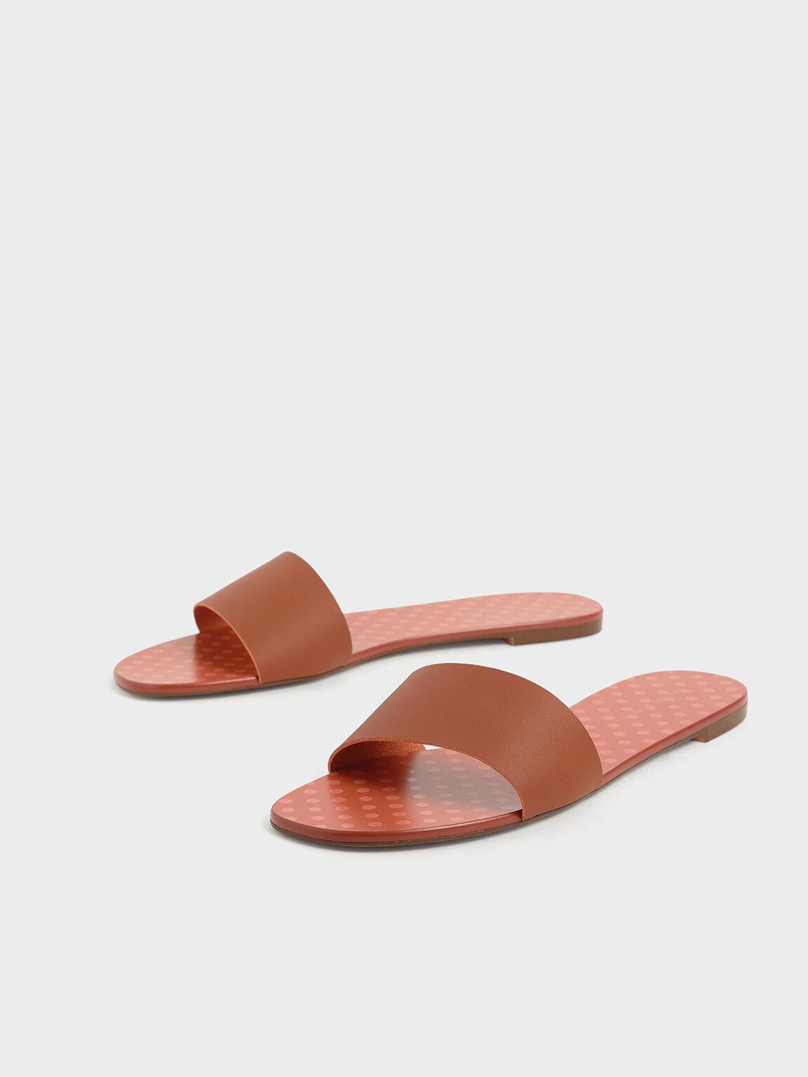 Dot Motif Slide Sandals, Tan, hi-res