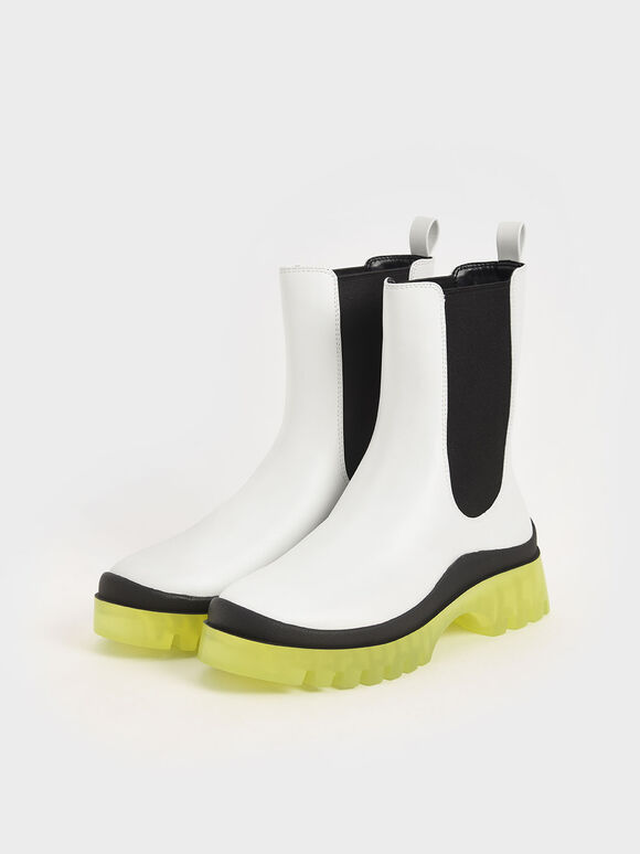 Clear Sole Chelsea Boots, White, hi-res