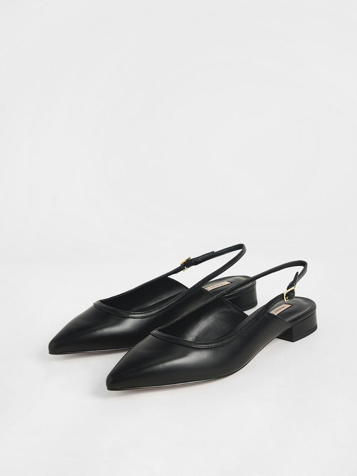 Ballerina Slingback Flats, Black, hi-res