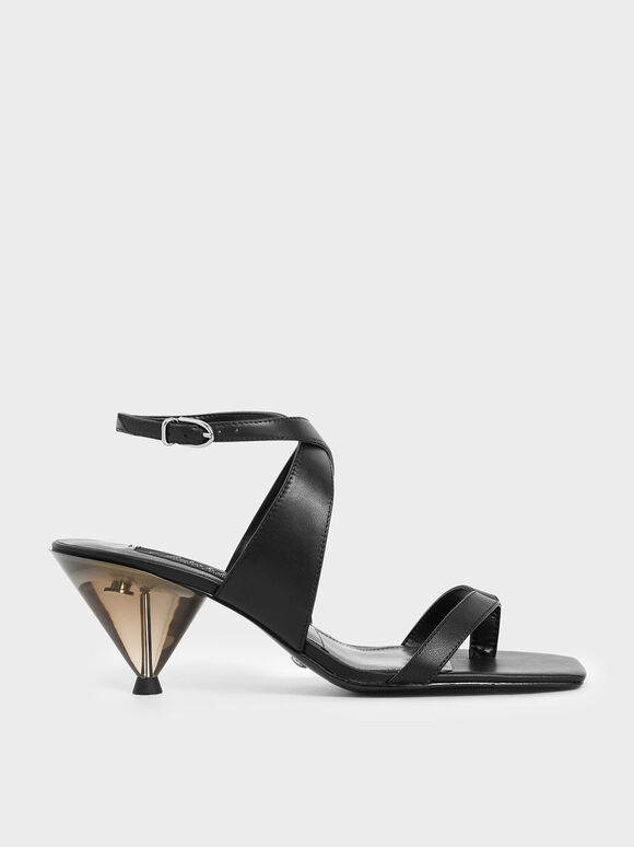 Leather Cone Heel Sandals, Black, hi-res