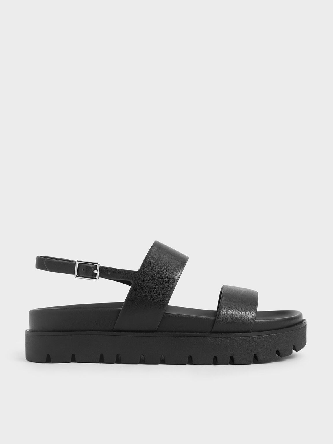 Flatform Sandals, Black, hi-res