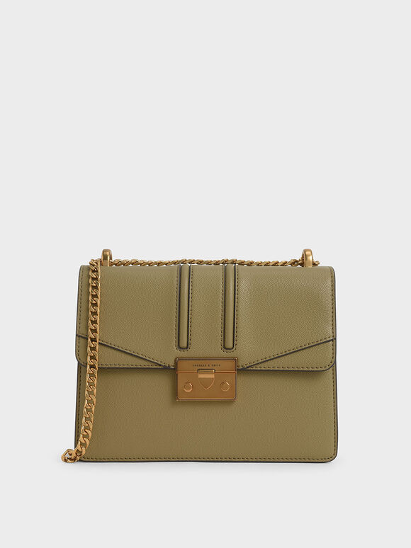 Metallic Push-Lock Shoulder Bag, Khaki, hi-res